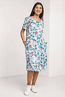 Голубое платье в цветочек с открытой спинкой и короткими рукавами