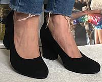 Nona! женские качественные классические туфли замшевые черные взуття на каблуке 7,5 см черевики, фото 1