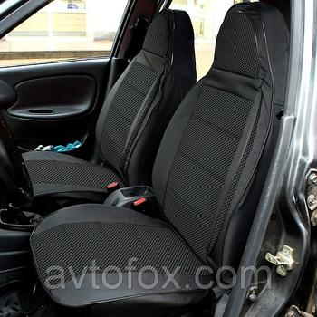 """Чехлы сидений ВАЗ 2102 комплект Кожзаменитель черная + ткань серая """"Пилот"""""""