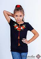 Стильна футболка для дівчинки чорного кольору «Маки-ромашки», фото 1