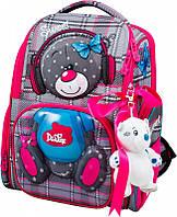 Ранец школьный рюкзак детский ортопедический для девочек DeLune 11-026  + мешок +  + мишка с мишкой