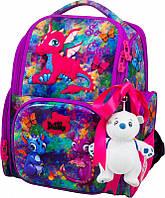 Ранец школьный рюкзак детский ортопедический для девочек DeLune 11-028  + мешок + мишка с драконом