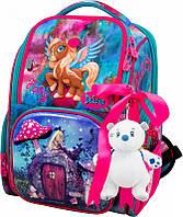 Ранец школьный рюкзак детский ортопедический для девочек DeLune 11-029  + мешок + мишка с пони пегасом