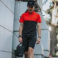 Спортивный костюм летний мужской Nike, комплект футболка поло красная, шорты черные, барсетка