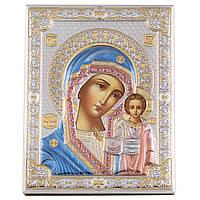 Икона серебряная в цвете Казанская Богородица (20х26см) 85302/6LCOL
