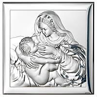 """Ікона срібна Пресвятої Богородиці """"Годувальниця"""" (18х18см) 80002 4XL"""