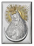 """Икона серебряная """"Богородиця Остробрамська"""" (13х18см) 18062 4L"""
