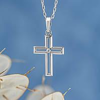 Крестик со вставкой диаманта 4/3 0,02ct  115-0705, фото 1