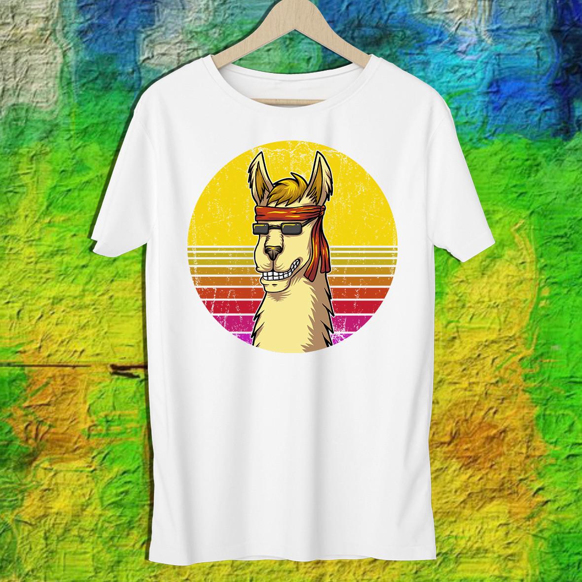 Мужская футболка с принтом Альпака в очках Push IT S, Белый