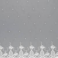 Тюль сітка з вишивкою колір кремовий