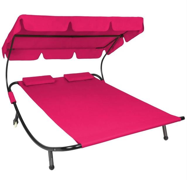 Двухместный шезлонг красный, лежак садовый, диван для сада и дачи