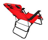 Складной лежак ACRYLIC ZIE красный садовый пляжный дачный, фото 3