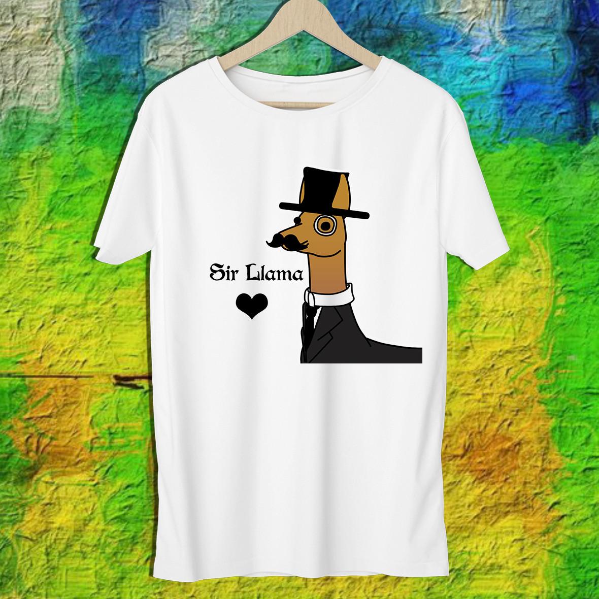 """Мужская футболка с принтом Альпака """"Sir Llama"""" Push IT S, Белый"""