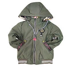 Детская демисезонная двусторонняя куртка для мальчика хаки 7-8 лет