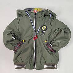Детская демисезонная двусторонняя куртка для мальчика хаки 9-10 лет