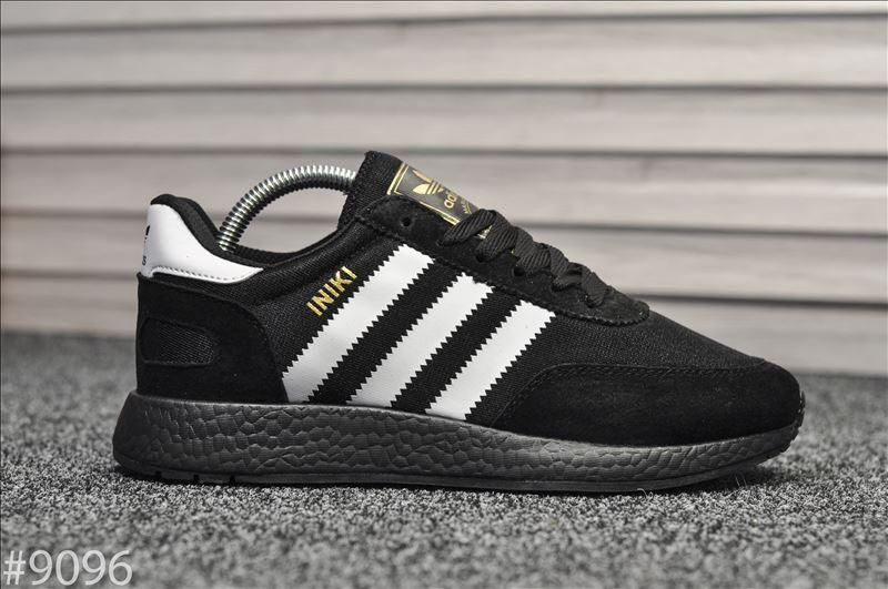 Мужские кроссовки Adidas Iniki Runner All Black, Реплика