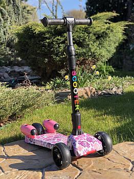Самокат дитячий Scooter 305A з підсвічуванням коліс, турбінами з пором і музикою | Рожевий