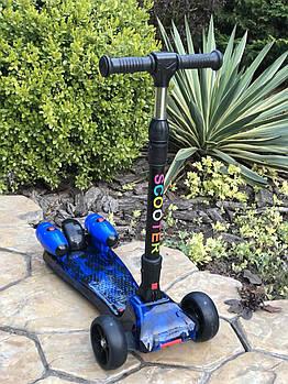 Самокат дитячий Scooter 305A з підсвічуванням коліс, турбінами з пором і музикою | Синій
