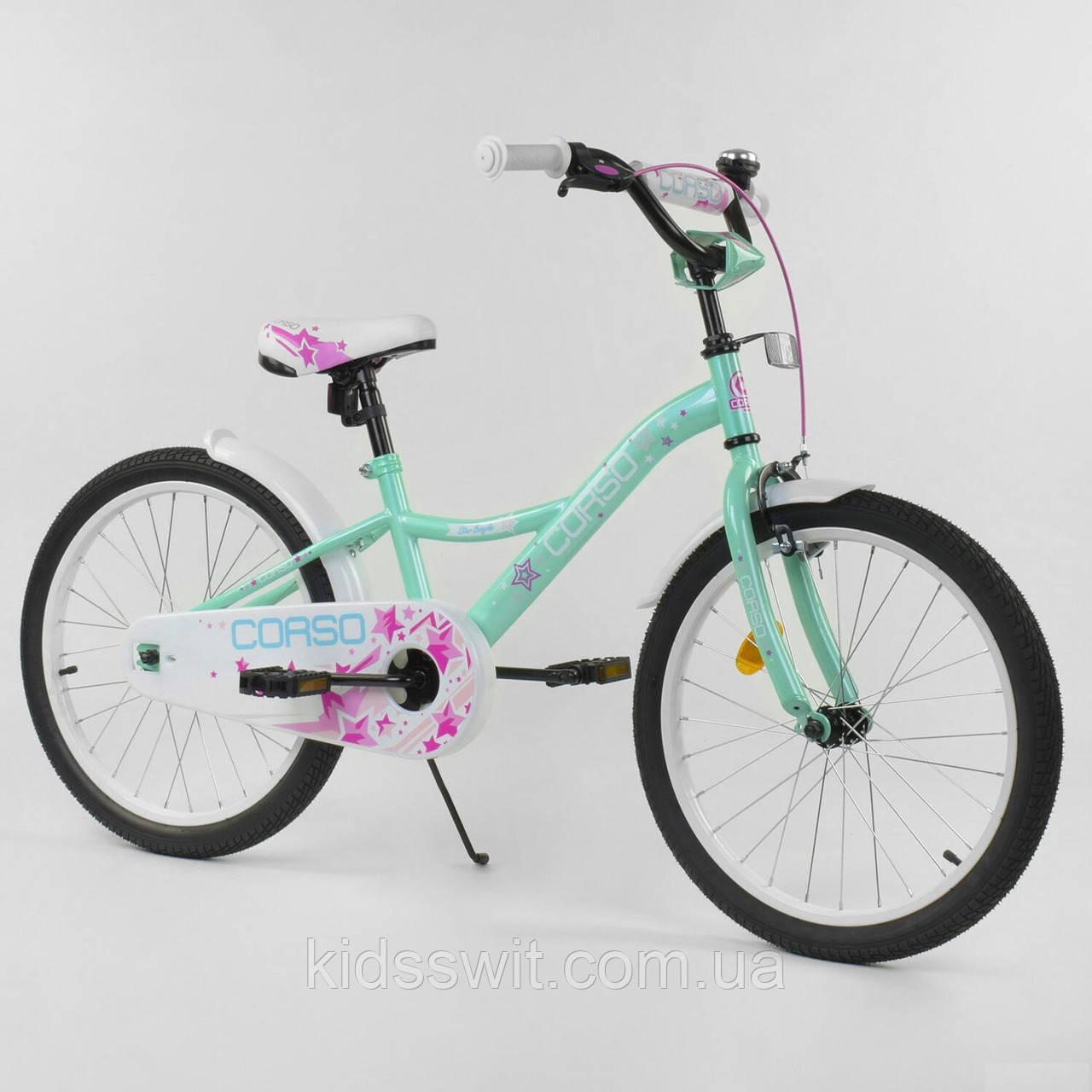 """Велосипед 20"""" дюймов 2-х колёсный """"CORSO"""" бирюзовый, ручной тормоз, звоночек, собранный на 75% S-20281"""