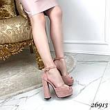 Босоножки с ремешком на устойчивом каблуке 13 см, супер колодка, пудровые, черные, фото 4