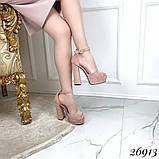 Босоножки с ремешком на устойчивом каблуке 13 см, супер колодка, пудровые, черные, фото 5