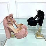 Босоножки с ремешком на устойчивом каблуке 13 см, супер колодка, пудровые, черные, фото 3