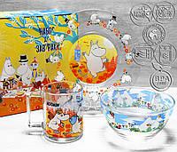 Набір дитячої скляній посуд ОСБ Мумі-Троль 3 предмета, фото 1