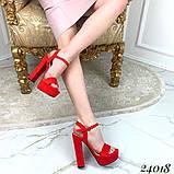 Босоножки на высоком устойчивом каблуке 13 см, супер колодка, красные, черные, бежевые, фото 3