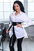 Рубашка хлопковая удлиненная с широким кожаным ремешком, 2цвета, р-р.44-46,48-50 Код 1033В