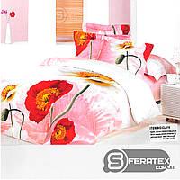 Комплект постельного белья Евро 200*230см | хлопок 100%,сатин | НЕЖНЫЕ МАКИ