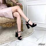 Женские босоножки на тракторной подошве, широкий каблук 11 см, бежевые, черные, фото 2