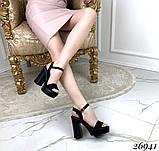 Женские босоножки на тракторной подошве, широкий каблук 11 см, бежевые, черные, фото 3