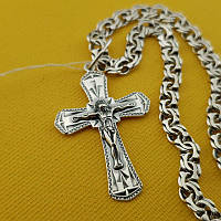Комплект!!! Серебряная цепочка с крестиком. Мужской кулон и цепь из серебра 925