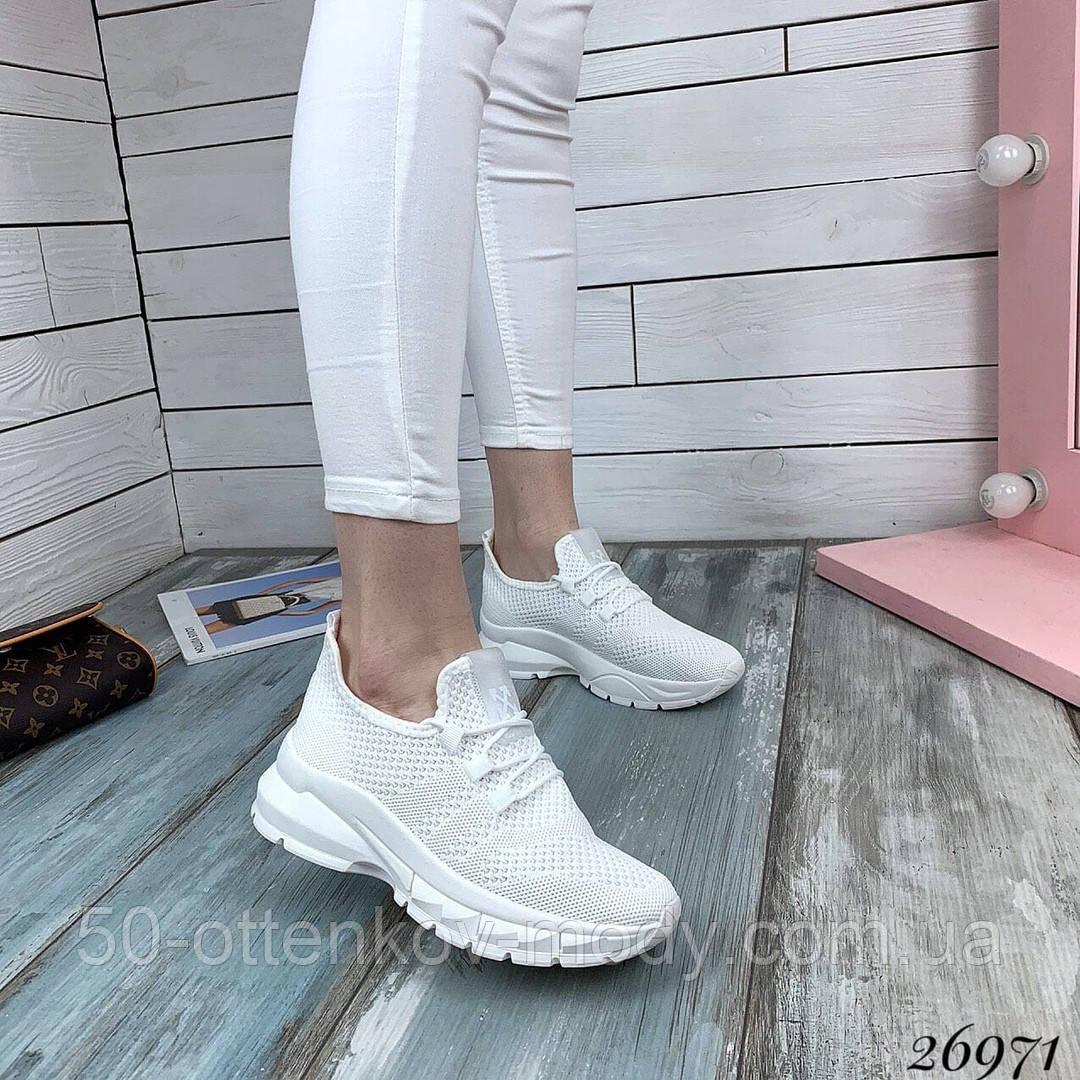 Женские белые кроссовки текстильные повседневные
