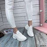 Женские белые кроссовки текстильные повседневные, фото 3