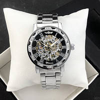 Наручний годинник Winner 8012 Diamonds Automatic Silver-Black [33719-17]