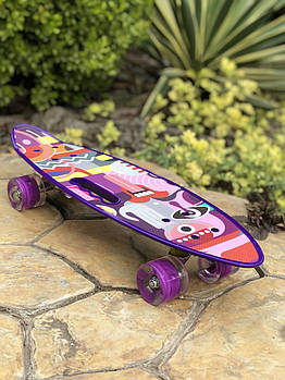 Пенни борд HB28 со светящимися колесами   Фиолетовый