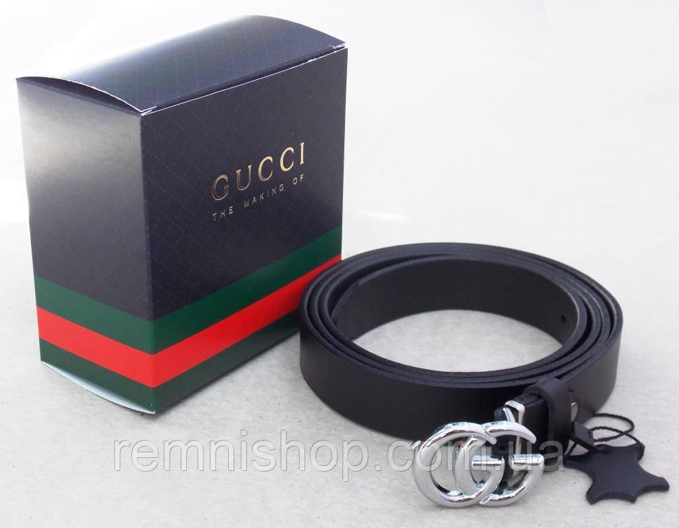 Женский кожаный узкий пояс Gucci + коробка