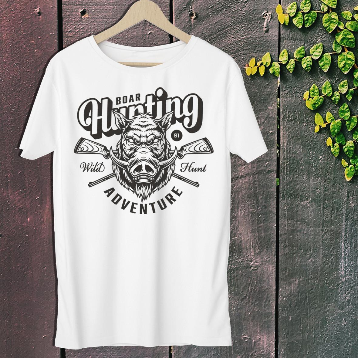 """Мужская футболка для охотника с принтом Голова Кабана """"Boar Hunting Adventure"""" Push IT S, Белый"""