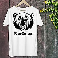 """Мужская футболка для охотника с принтом """"Bear Season"""" Push IT S, Белый"""