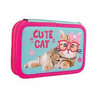 Твердый двойной пенал для девочки с кошкой SMART HP-01 Cute Cat Розовый (532791)