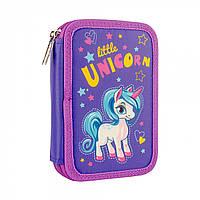 Твердый двойной пенал для девочки с единорогом SMART HP-01 Unicorn Фиолетовый (532790)