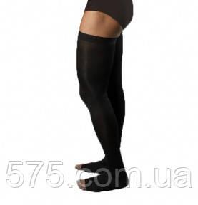 Чулки мужские с открытым носком, 2 класс компрессии, черного цвета, 230 DEN. Арт.420 M (180-195 см.рост)
