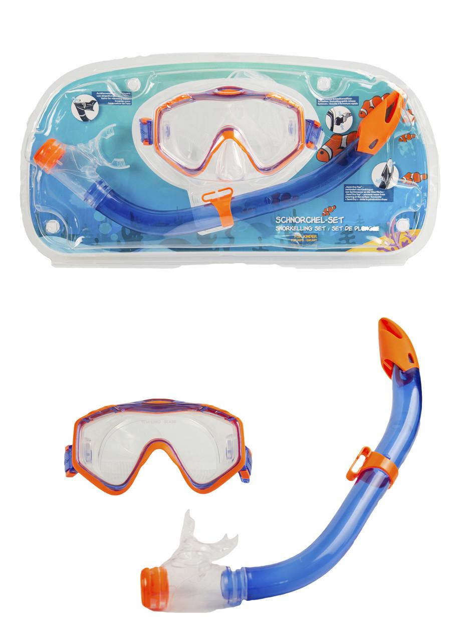 Детская маска и трубка для подводного плавания Delta-Sport S/M Синий, Оранжевый