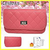Розовая женская сумка клатч Chanel / Дамская сумочка + Наушники i12 в Подарок
