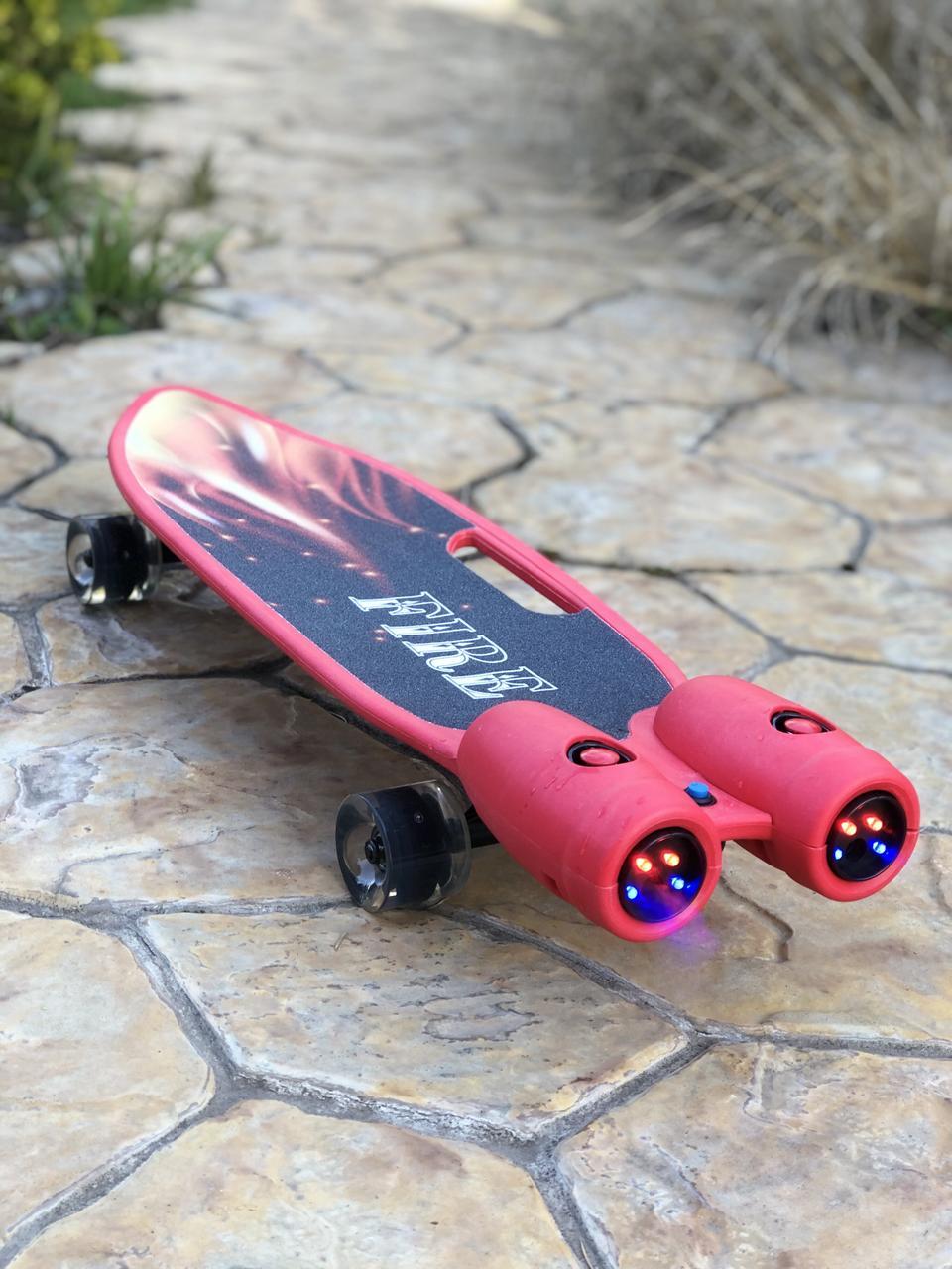 Пенни борд Fire 304 со светящимися колесами, турбинами, паром и музыкой | Красный