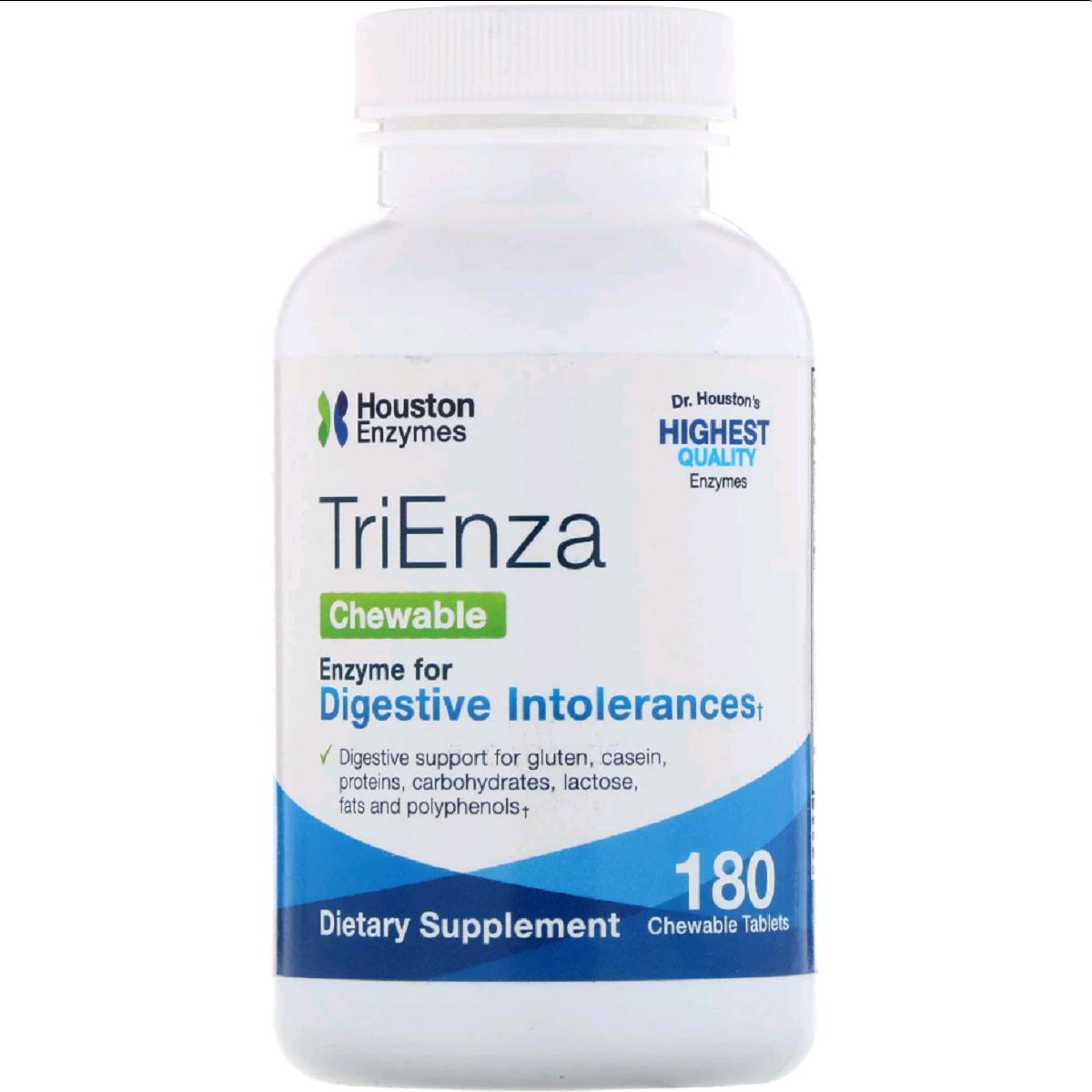 Пищеварительные Ферменты TriEnza, Houston Enzymes, 180 жевательных таблеток