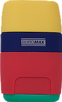 Точилка Buromax RAINBOW, RUBBER TOUCH, 2 отв., контейнер +ластик