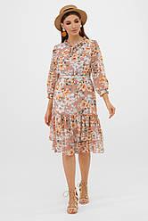 Нарядное шифоновое свободное платье с цветочным принтом бежевое