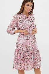 Розовое летнее шифоновое платье до колен с оборкой цветочный принт